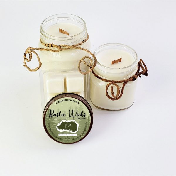 Olive Leaf Candle   Crackle Wick Candle by Rustic Wick Candle Co.